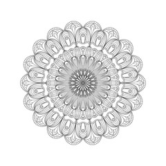 Round abstract ornament of coloring book for adults