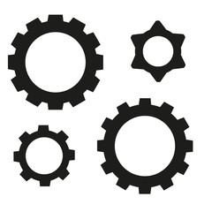 Black gear on a white background