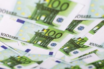 Euro currency, background image, hundreds of green