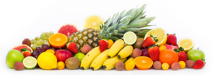 Fresh fruits on the white background Wall mural