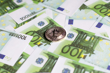 bitcoin against Euro currency, hundreds of bills