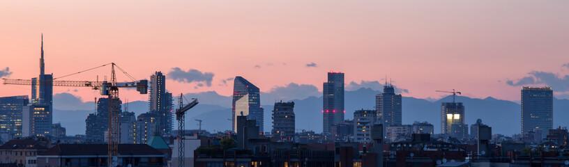 Milano Skyline di sera Wall mural