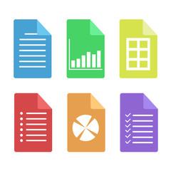 Set of web document flat icon, stock vector illustration