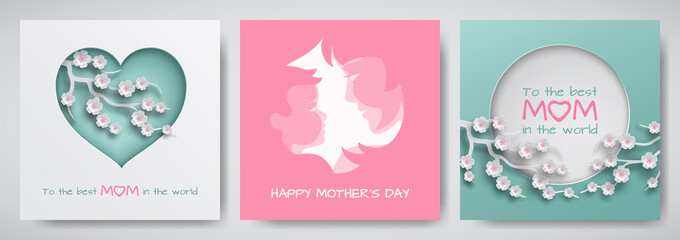 Set of green and pink greeting card for mother's day. Women and baby silhouettes with congratulations text, cuted heart decorated cherry flowers, paper cut style. Vector illustration, layers isolated