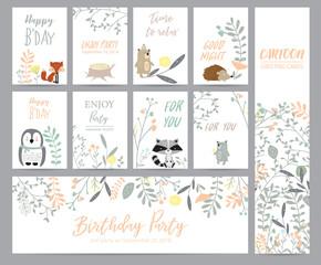 Natural pastel greeting card with wild,porcupine,bear,skunk,penguin,flower and leaf
