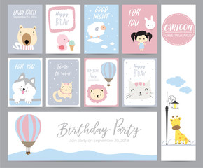 Blue pink pastel greeting card with giraffe,cat,bear,lion,duck,sheep,balloon and girl