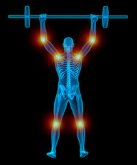 Very detailed and medically accurate 3D Illustration of a translucent man lifting weights while having pain in his joints