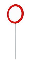 deutsches Verkehrszeichen (Verkehrsverbote): Verbot für Fahrzeuge aller Art, auf weiß isoliert. 3d render