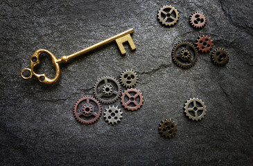 Gold key with gears