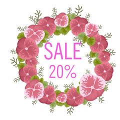 Sale concept background. Word sale made of flowers in yellow flowers.