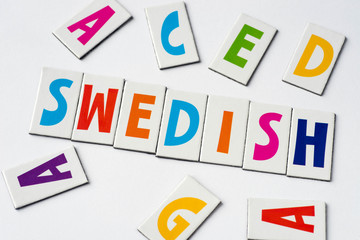 word Swedish made of colorful letters