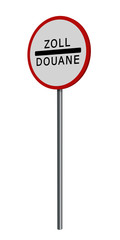 deutsches Verkehrszeichen: Zollstelle, auf weiß isoliert. 3d render