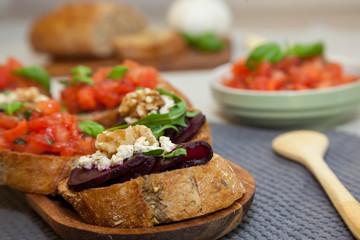 Healthy breakfast - bruschetta and sandwich with beetroot