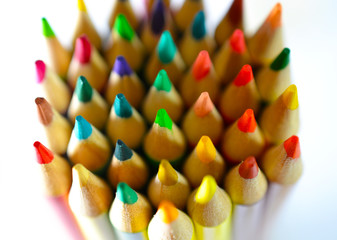 Group of pencil tips macro