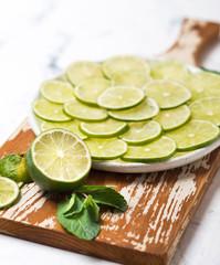 Citrus fruit lime and mint