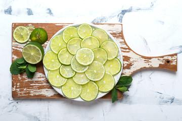 Citrus fruit lime on the ceramic plate