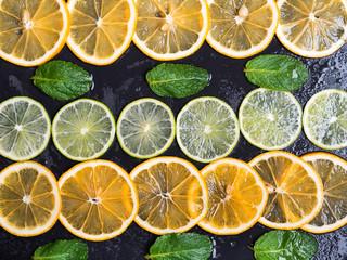 Citrus fruits limes and lemons
