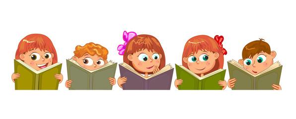 Little children read books. Children with books on a white background