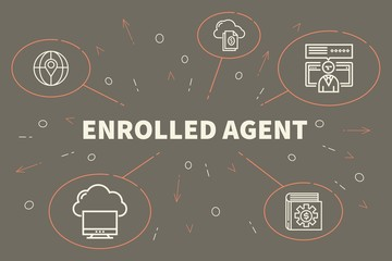 Business illustration showing the concept of enrolled agent