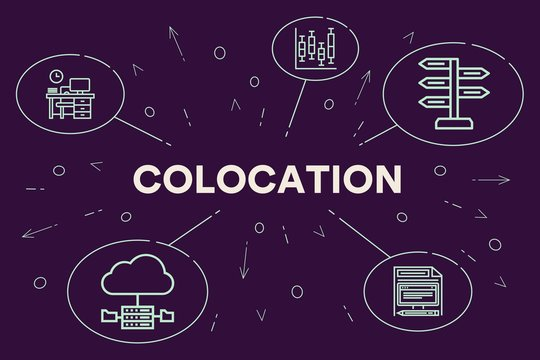 Business illustration showing the concept of colocation