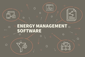 Business illustration showing the concept of energy management software