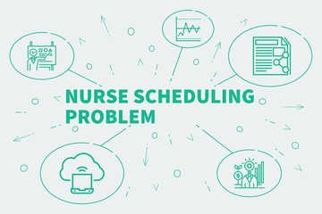 Business illustration showing the concept of nurse scheduling problem