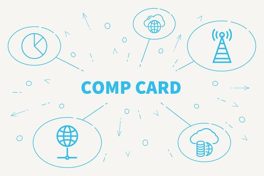 Business illustration showing the concept of comp card