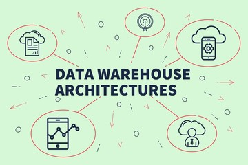 Business illustration showing the concept of data warehouse architectures