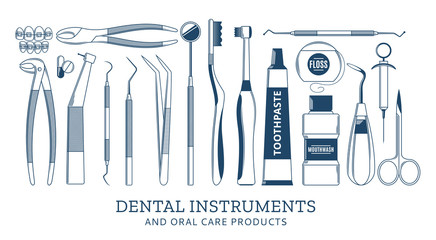 Dental instrument and oral care icons