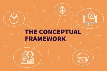 Business illustration showing the concept of the conceptual framework