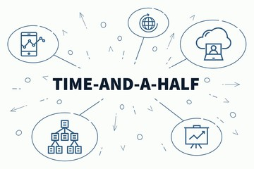 Business illustration showing the concept of time-and-a-half