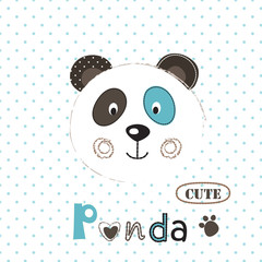 Vector  illustration with cute panda