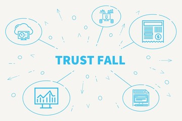 Business illustration showing the concept of trust fall