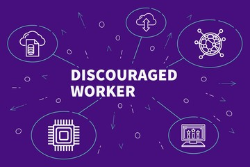 Business illustration showing the concept of discouraged worker