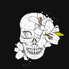 Skull with lilies. Flowers. Vector illustration.