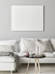Mock up poster in Scandinavian living room, your artwork here, 3d render, 3d illustration
