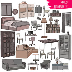 Monochrome vector set of modern furniture objects: table, bookshelf, sofa, bed, armchair, cupboard, chairs, desk, window, pots.