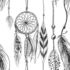 Vector illustration of black and white dream catcher pattern in hand drawn style.