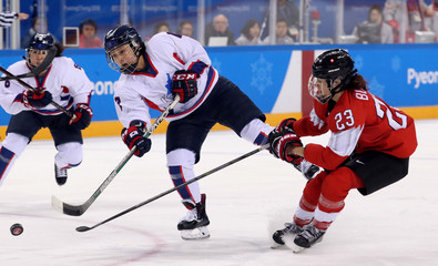 Olympics: Ice Hockey-Women Team Semifinal KOR v SUI