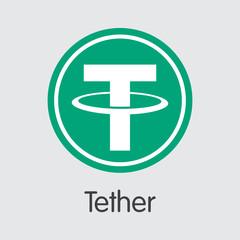 Tether Digital Currency. Vector USDT Pictogram.