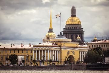 Spire of Admiralty and Dome of Saint Isaac's Cathedral, St Petersburg, Russia