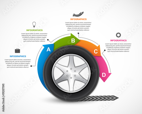 Infographic Design Template  Tire with arrows in a circle
