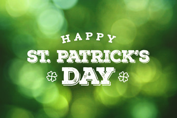 Happy St. Patrick's Day Text Over Green Bokeh Lights Background Fototapete
