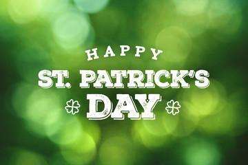 Obraz Happy St. Patrick's Day Text Over Green Bokeh Lights Background - fototapety do salonu