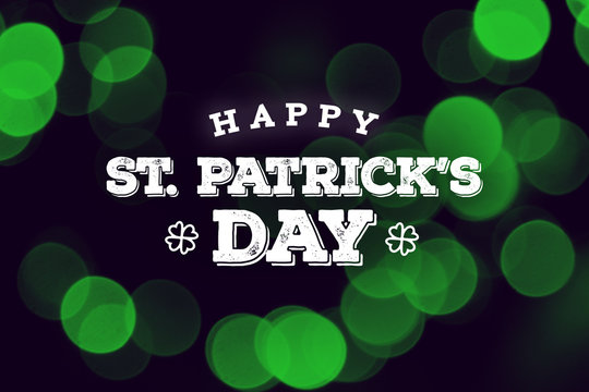 Happy St. Patrick's Day Text Over Green Duotone Lights Background