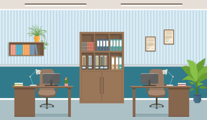 Office interior concept. Workplace design with two workplaces and office furniture like tables, laptops.