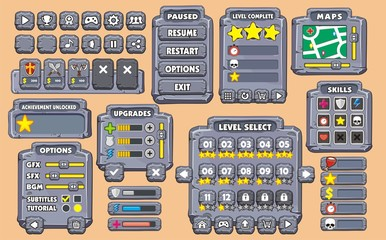 Game User Interface in cartoon style with basic buttons and functions, status bar, for creating game