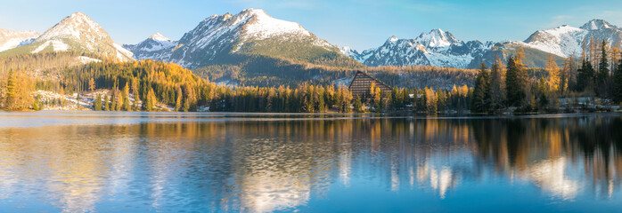 Wall Mural - panorama of a mountain lake on a frosty morning-Strbske Pleso, Slovakia
