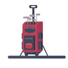 Golf bag. Transportation golf equipment. Flat vector illustration