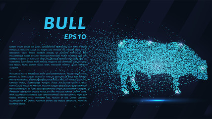 The bull consists of particles. The bull consists of dots and circles. Blue bull on a dark background.